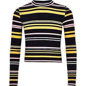 Girls navy stripe long sleeve top