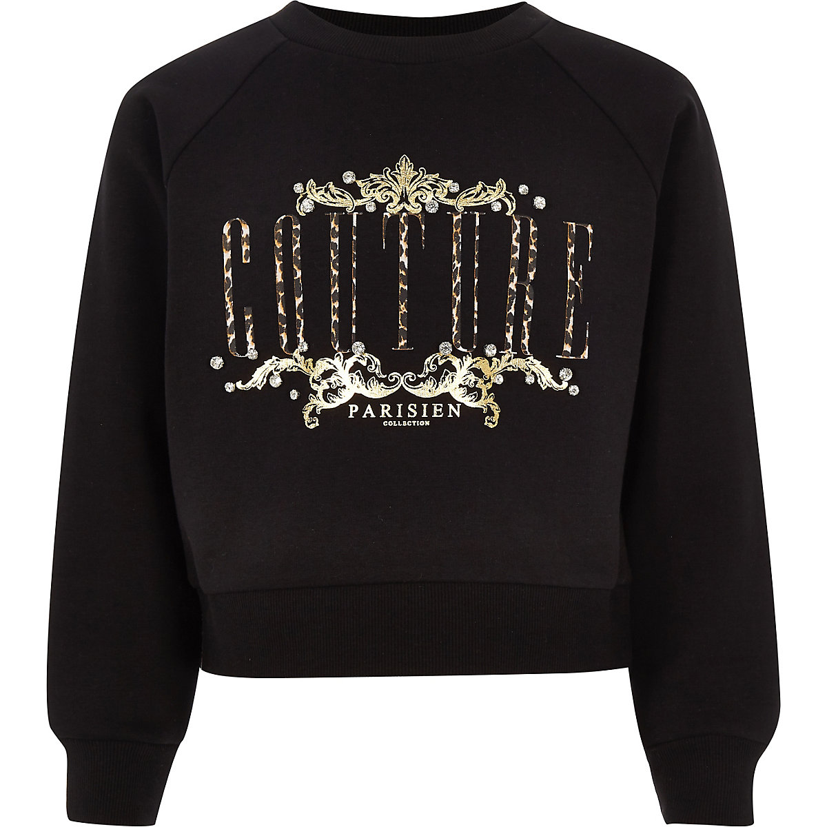 Girls black 'couture' print sweatshirt