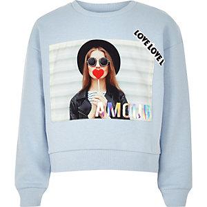 "Blaues Sweatshirt ""Amour"""