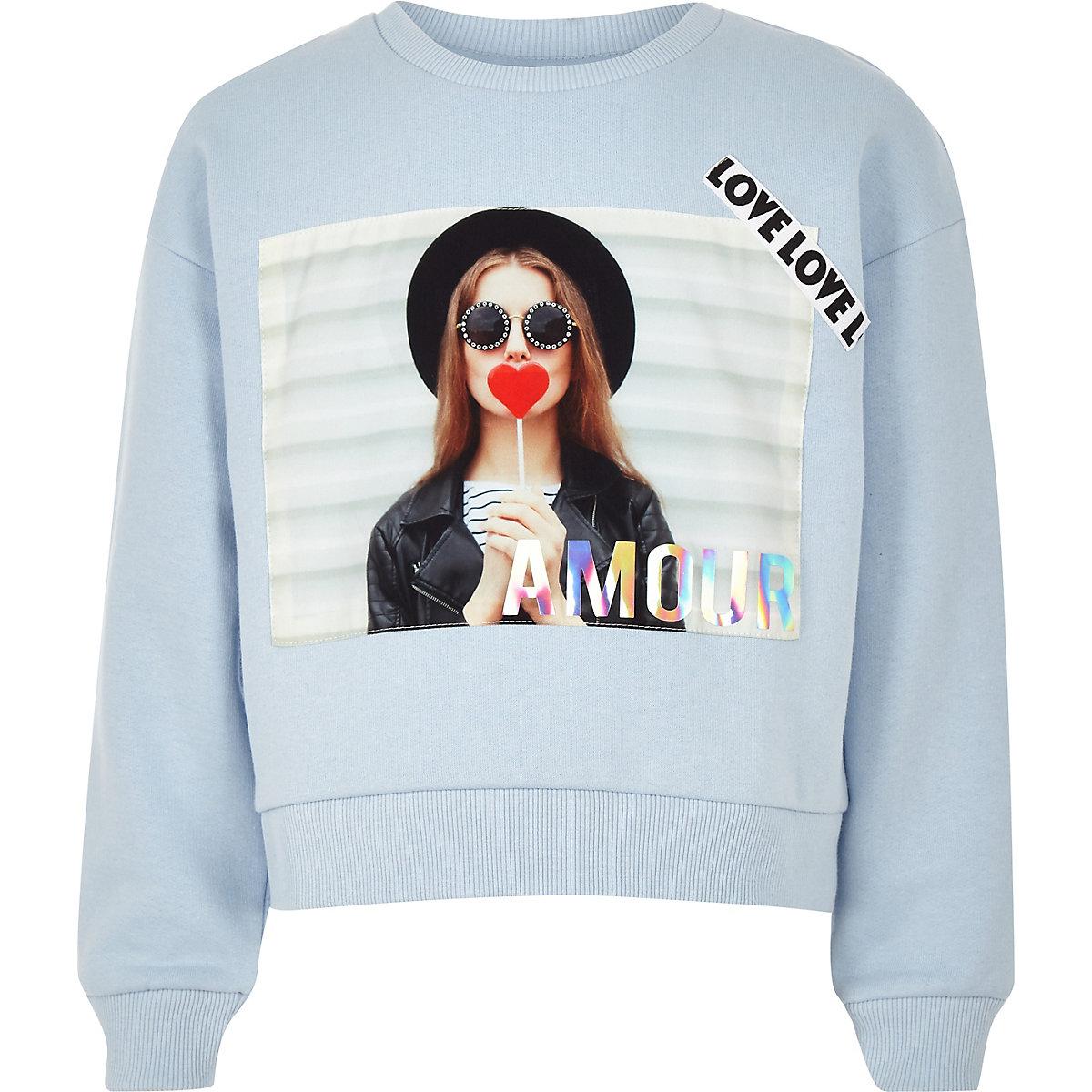 Girls blue 'Amour' slogan sweatshirt