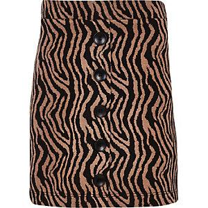 Jupe imprimé zèbre marron boutonnée sur le devant pour fille