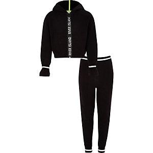 Zwarte hoodie-outfit met RI-logo en rits voor meisjes