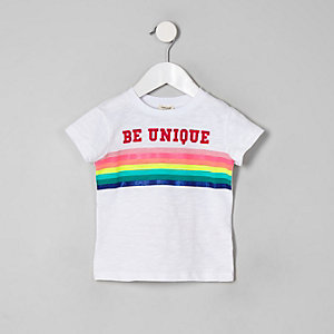 "Weißes T-Shirt ""Be Unique"""