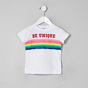 Mini - Wit 'Be Unique' T-shirt met regenboogprint voor meisjes