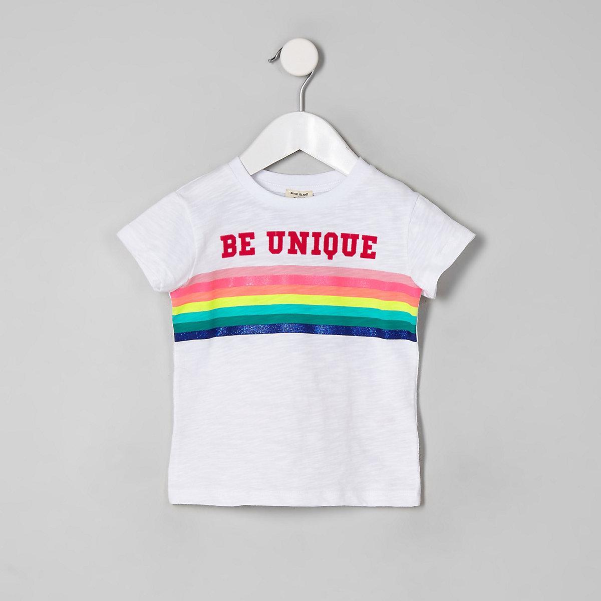 Mini girls white 'Be Unique' rainbow T-shirt
