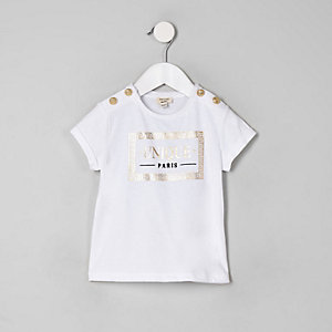 Mini girls white 'Unique' button T-shirt