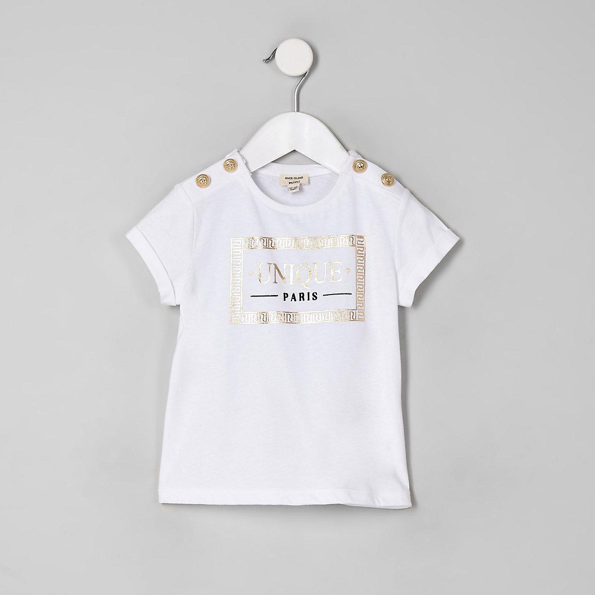 Mini girls white 'Unique' button T-shirt