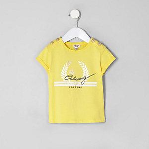 Mini - Geel T-shirt met 'Always'-button voor meisjes