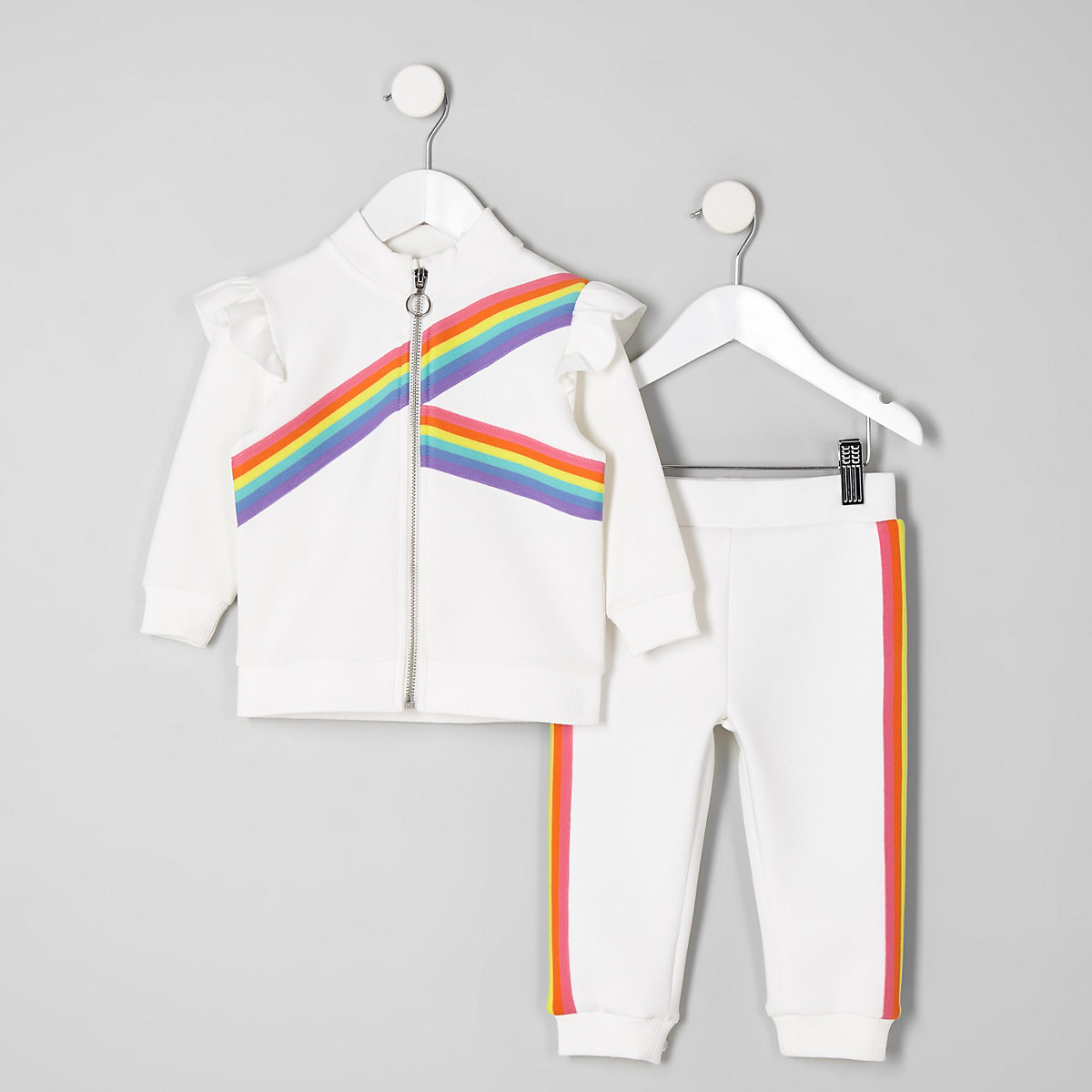 Mini girls white rainbow tape track outfit