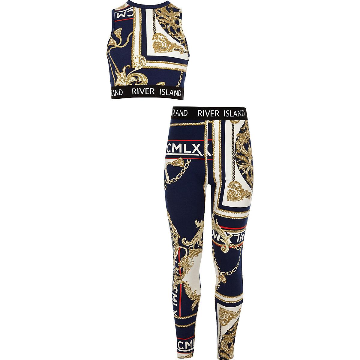 Girls navy baroque crop top outfit
