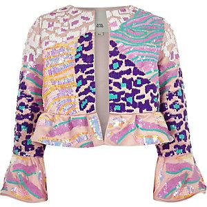 Veste évasée rose à sequins pour fille