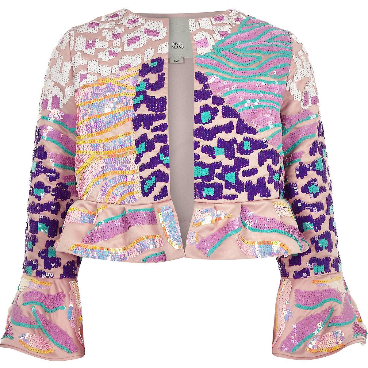 Girls pink sequin flare jacket