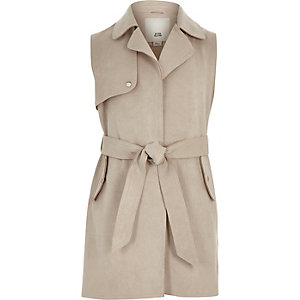 Girls stone suede sleeveless trench jacket