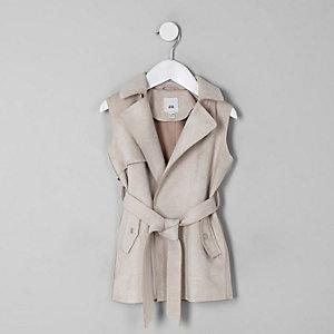 Mini girls stone sleeveless trench jacket