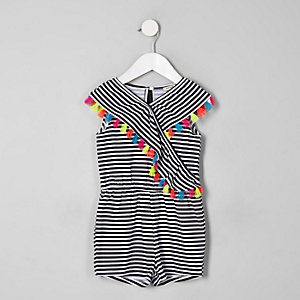 Mini girls black stripe tassel playsuit
