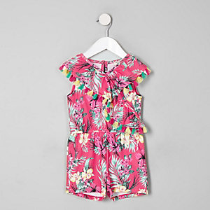 Mini girls pink tropical frill romper