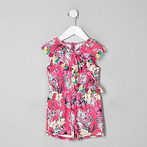 Combi-short motif tropical rose à volant mini fille