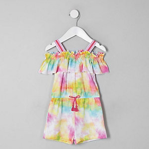 Mini girls pink tie dye frill romper