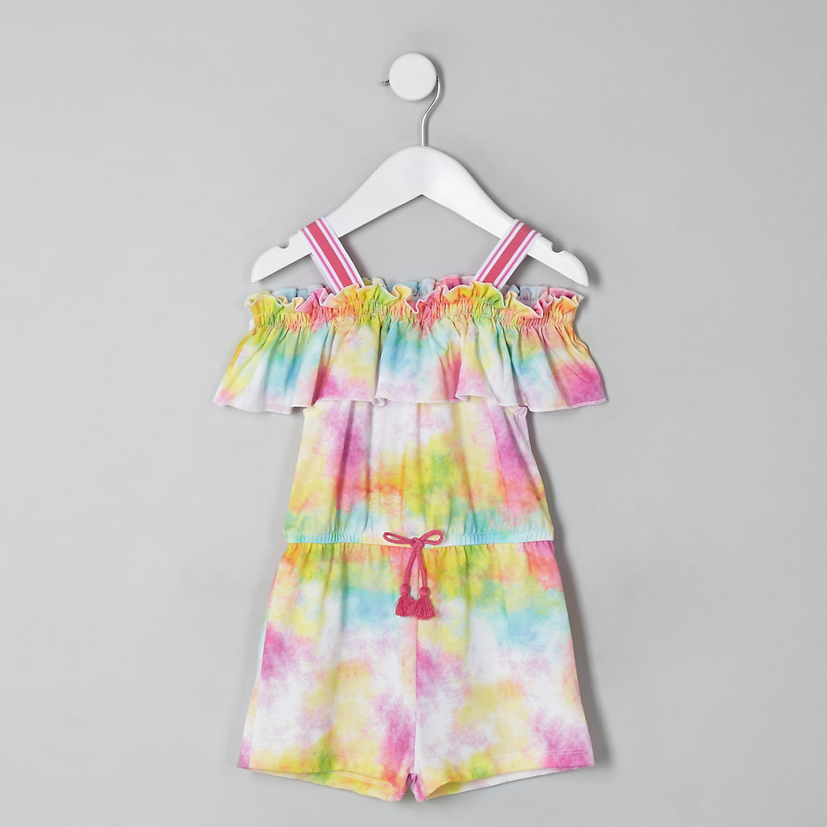 Mini girls pink tie dye frill playsuit