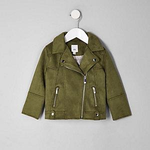 Mini girls khaki faux suede biker jacket