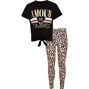 Girls 'amour' knot front T-shirt outfit