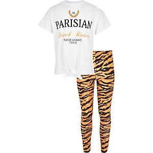 Ensemble avec t-shirt «Parisian» blanc pour fille