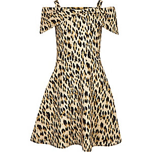 Girls brown leopard print bow front dress
