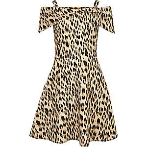 Robe léopard marron nouée devant pour fille