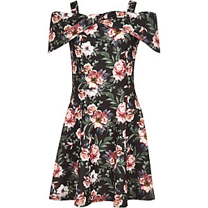 Girls black floral scuba bow dress