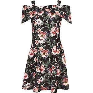 Robe en néoprène à fleurs noire nouée pour fille