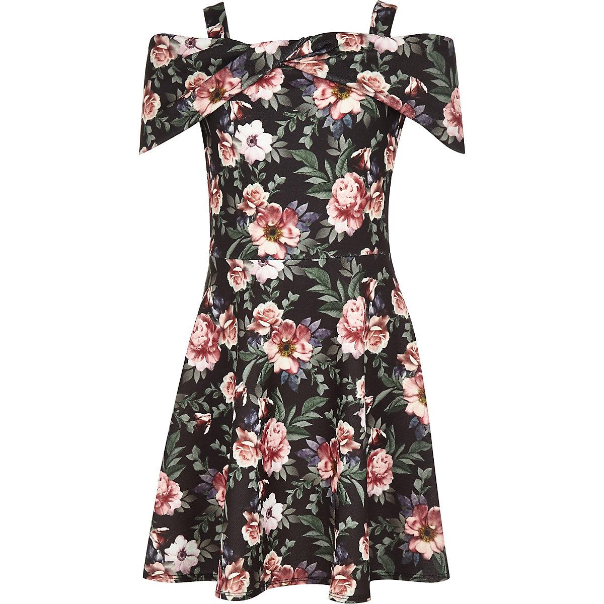 Girls black floral scuba bow dress