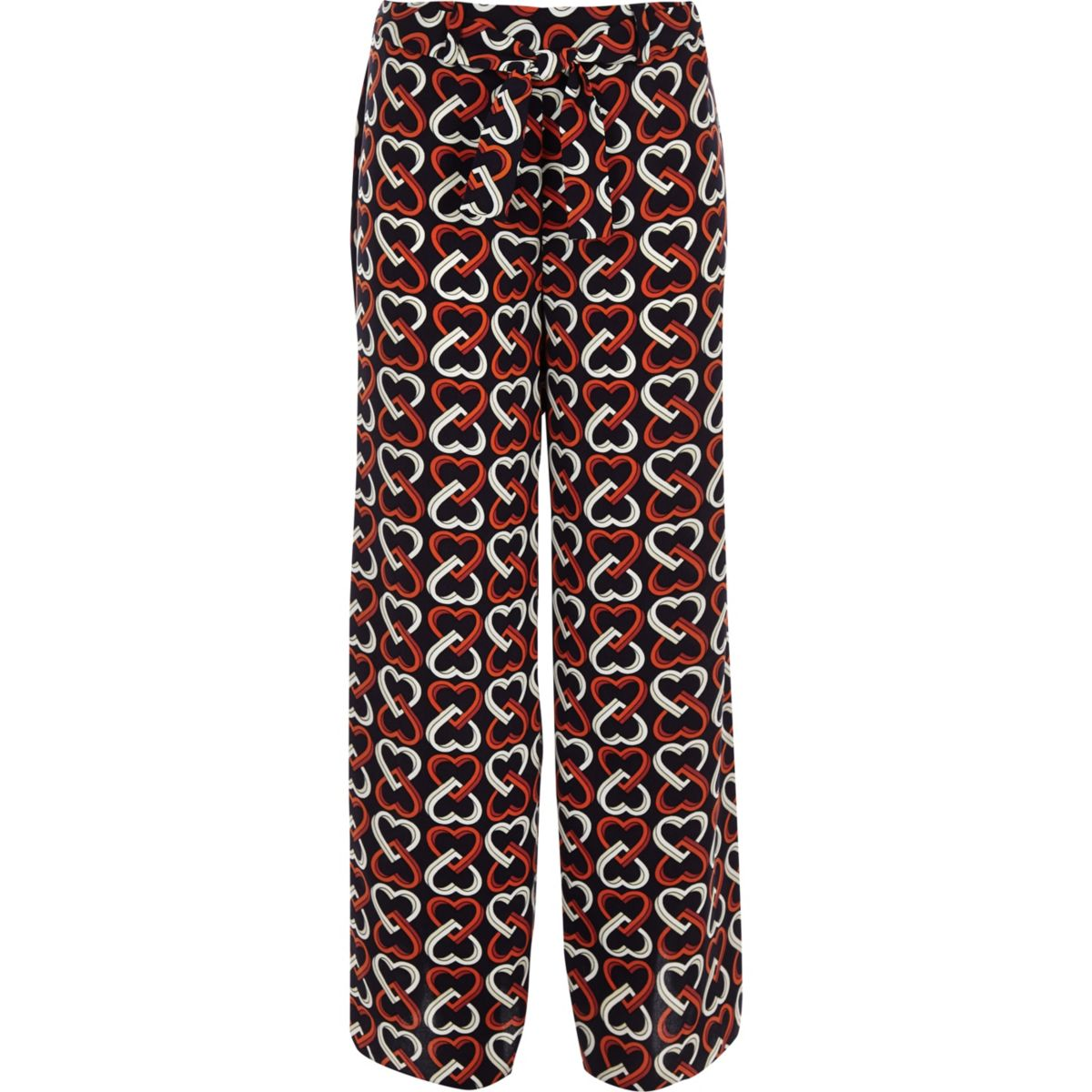 Girls navy heart print wide leg trousers