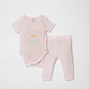 Ensemble avec legging à inscription rose pour bébé