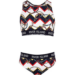 Girls navy mixed print crop bikini set