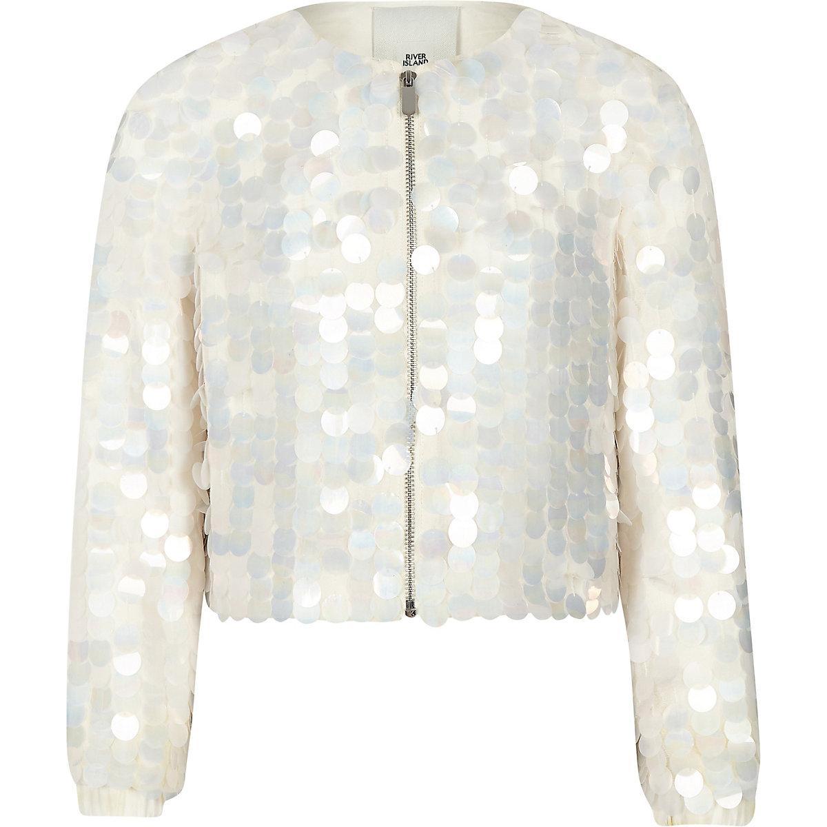 Girls cream sequin embellished jacket