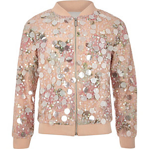 Girls pink sequin bomber jacket