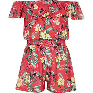 Girls pink tropical bardot frill playsuit