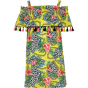 Girls yellow print trapeze dress