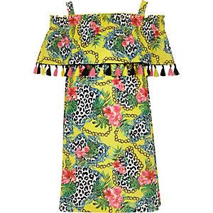 Girls yellow print trapeze dress