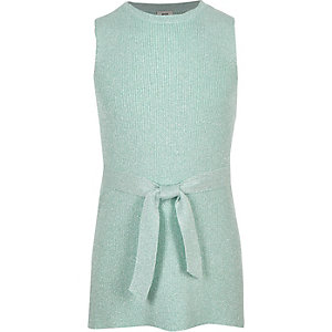 Girls green metallic tie waist tunic top