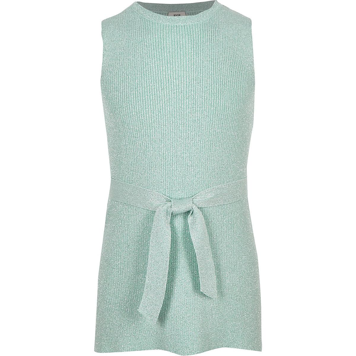 Girls green metallic tie waist tunic top