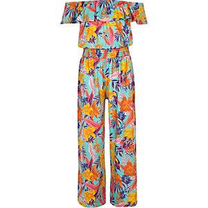 Girls blue tropical print bardot jumpsuit