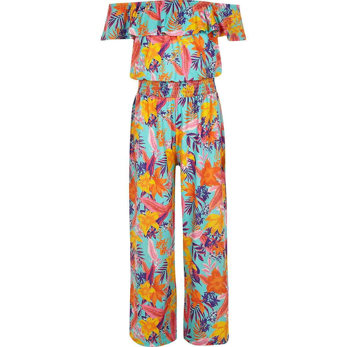Girls blue tropical print bardot jumpsuit