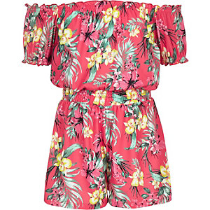 Girls pink tropical print romper