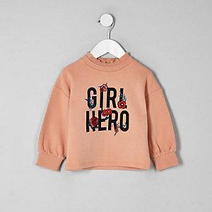 Mini - Koraalrood sweatshirt met 'girl hero'-print voor meisjes