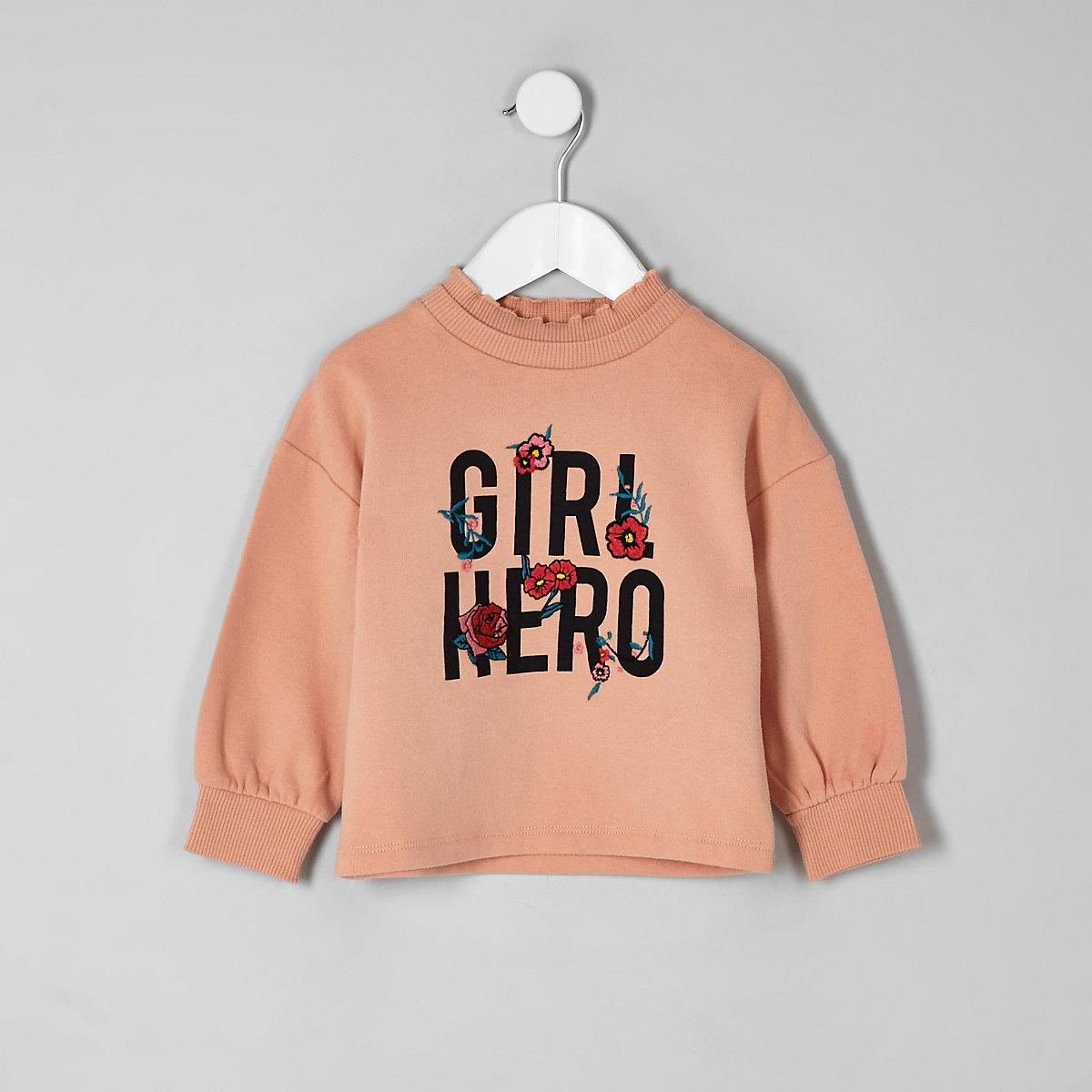 Mini girls coral 'girl hero' sweatshirt