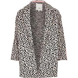 Girls grey leopard RI taped jersey jacket