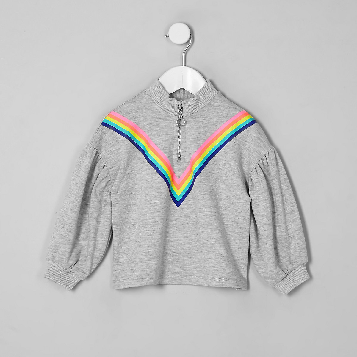 Girls grey rainbow zip neck sweatshirt