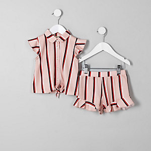 Ensemble avec chemise rayée rose pour mini fille