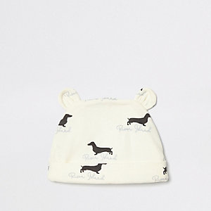 Baby cream dog print beanie hat